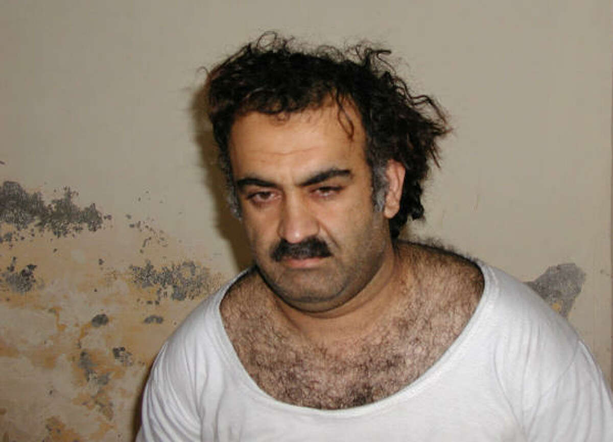 Khalid Sheikh Mohammed, the alleged Sept. 11 mastermind, is seen shortly after his capture in this file photo. Mohammed confessed to that attack and a string of others during a military hearing at Guantanamo Bay