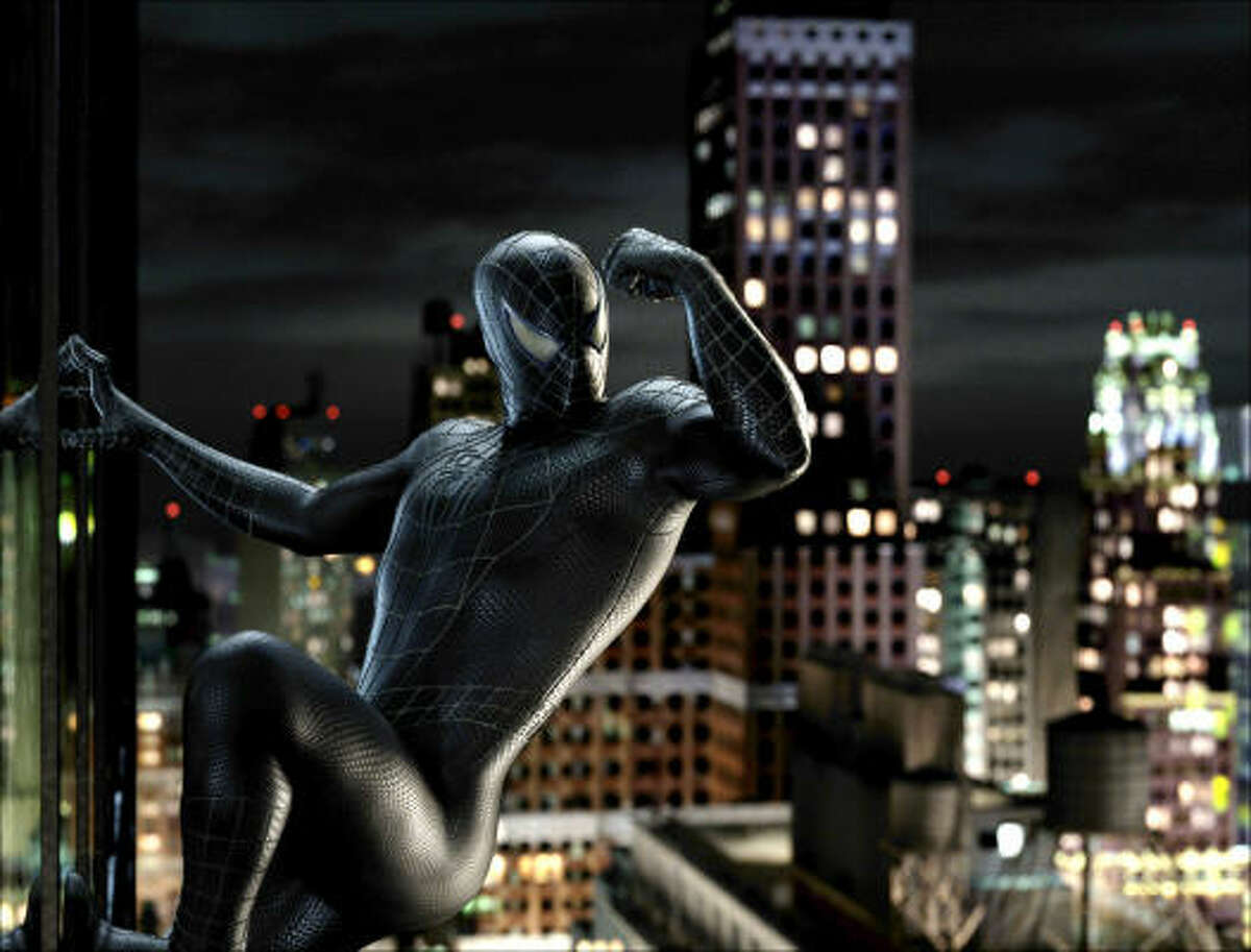 Black goo makes Spider-Man (Tobey Maguire) cocky, in Spider-Man 3.