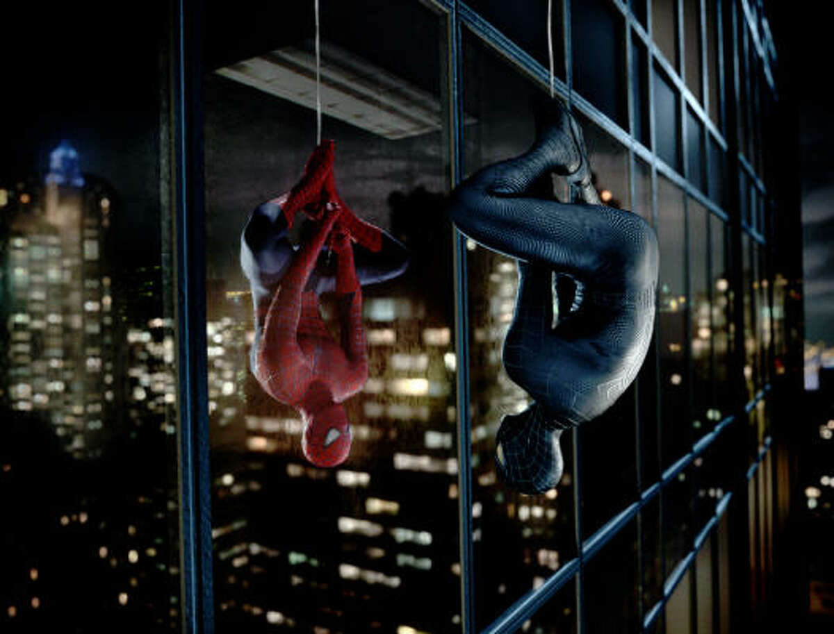 Spider-Man (Tobey Maguire) works though an identity crisis, in Spider-Man 3.