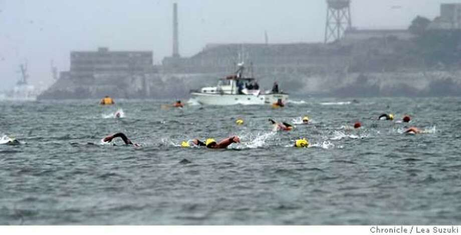 51-year-old swimmer dies during Alcatraz race Racers swim 1.5 miles from Alcatraz to Crissy Field in the Alcatraz Challenge. Some participants add a running segment. Photo: Lea Suzuki, SAN FRANCISCO CHRONICLE
