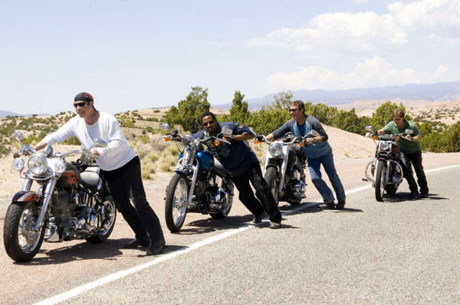 The Wild Hogs (John Travolta, from left, Martin Lawrence, Tim Allen and William H. Macy) shift gears and hit the road for a liberating experience, in Wild Hogs. Photo: Touchstone Pictures