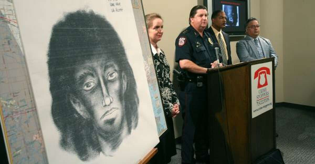 A sketch of the man who attacked a bus driver is shown Monday at a news conference held by, from left, Katherine Cabaniss, executive director of Crime Stoppers of Houston; Tom Lambert, chief of Metro Police; Cedric Buchanan, detective investigator for Metro Police; and Metro Police Lt. Ron Flores.