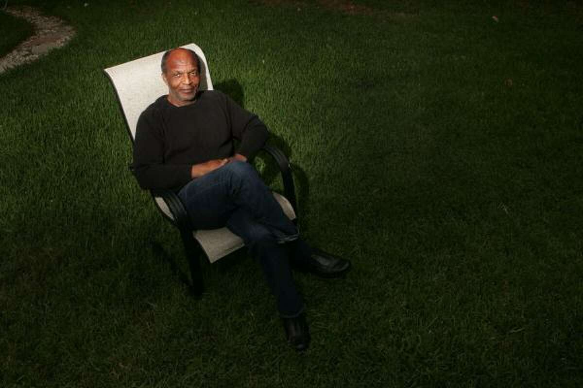 Henry Gayle Sanders, the star of Killer of Sheep, sits in the backyard of his home in Altadena, Calif.