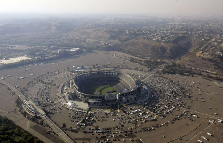 Qualcomm Stadium is an evacuation site in southern California. Photo: Chris Carlson, AP