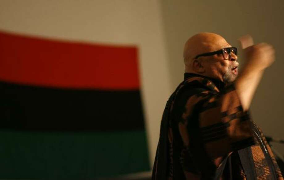 About 100 people were drawn Saturday to S.H.A.P.E. community center in the Third Ward to hear from the elusive Father Kwanzaa — Maulana Karenga. He created the holiday in 1966. Photo: SHARÓN STEINMANN, CHRONICLE