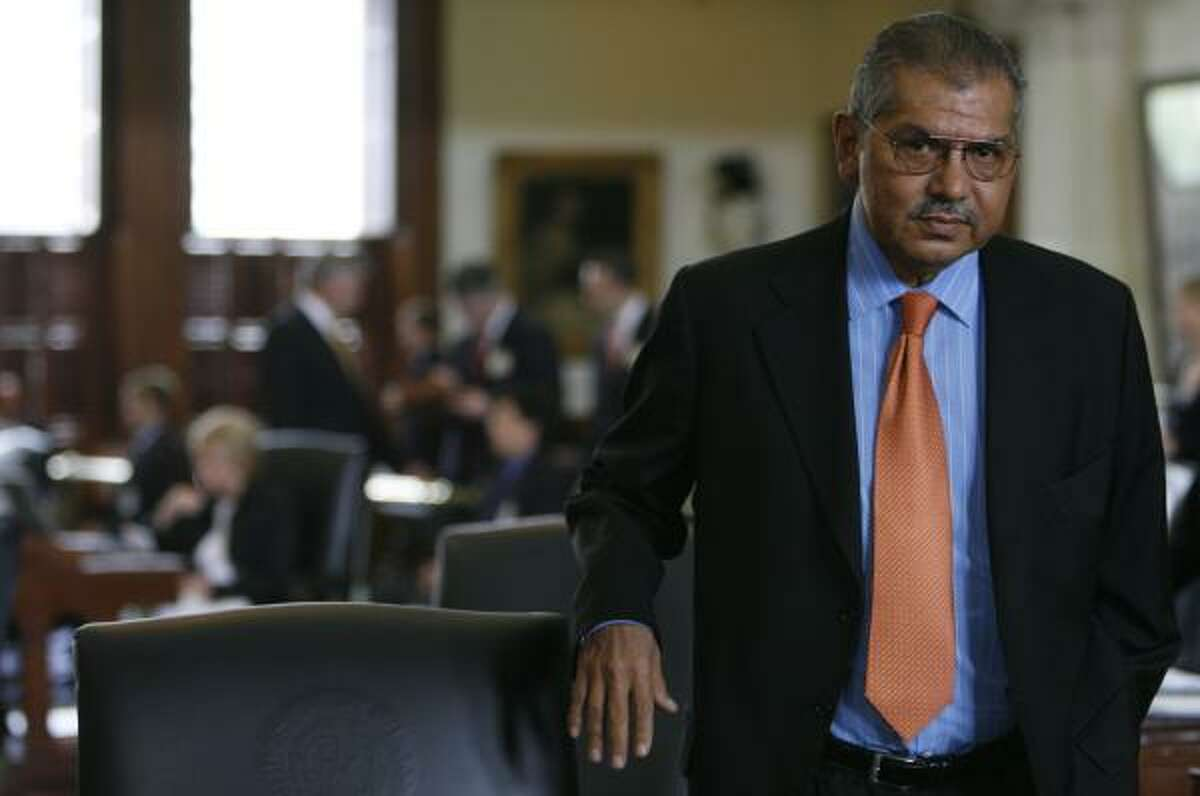 Sen. Mario Gallegos on the Senate floor in Austin on May 21.