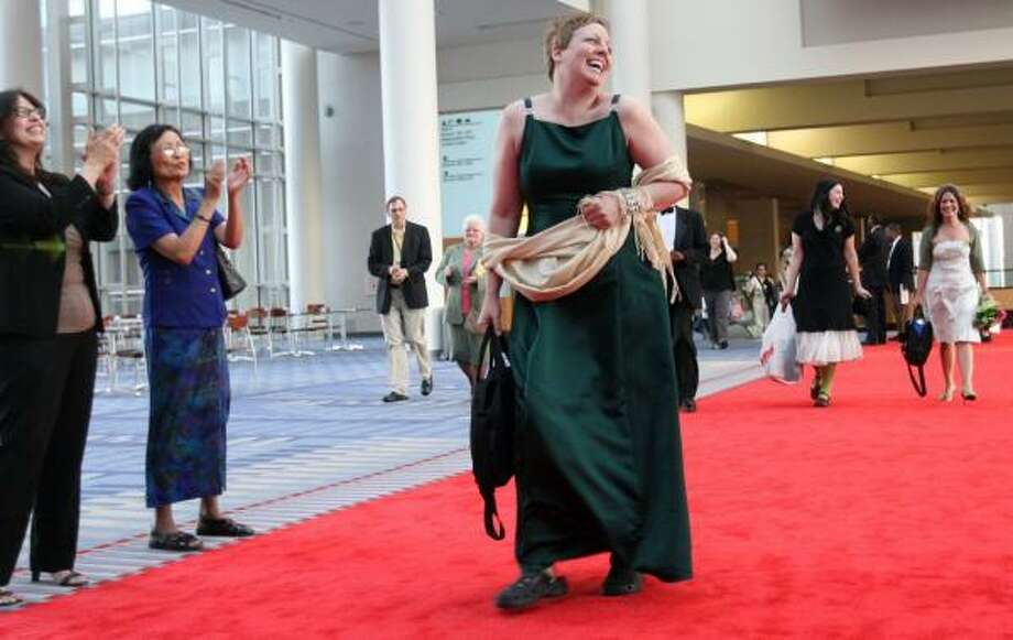 Ann Seidl, who created Hollywood Librarian, walks the red carpet at the film's premiere at the American Library Association. Photo: SUSAN BIDDLE, WASHINGTON POST