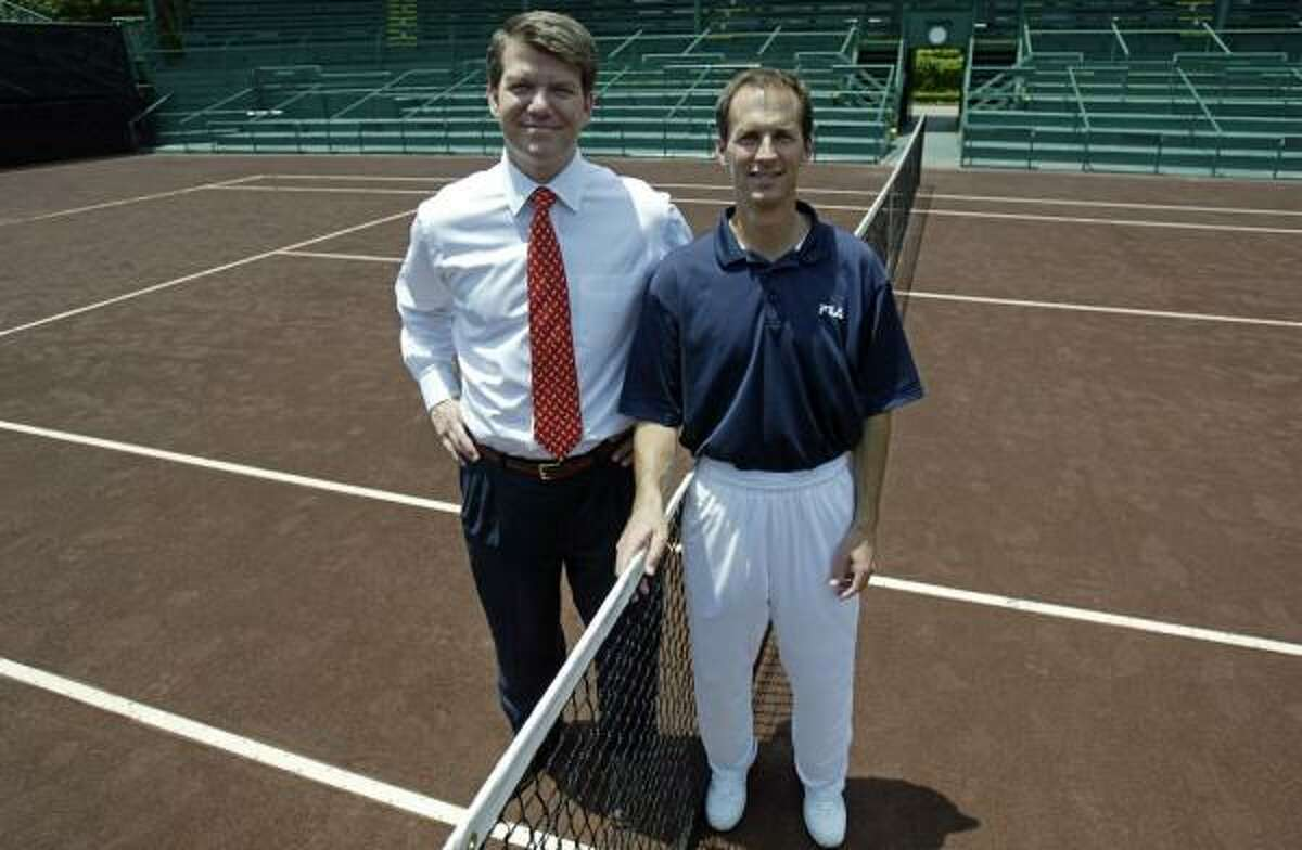 Tournament chairman David Modesett, left, and River Oaks director of tennis Van Barry landed the event despite a late start in the bidding.