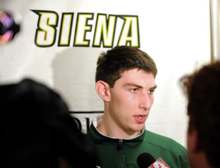 Siena Men's Basketball team member Ryan Rossiter speaks to the media after a press briefing by Athletic Director John D'Argenio at Siena College in Loudonville, New York March 29, 2010.       (Skip Dickstein/Times Union) Photo: Skip Dickstein / 2008
