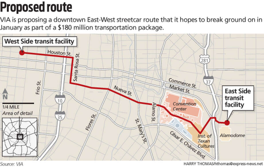 Streetcar line Photo: Express-News Graphic