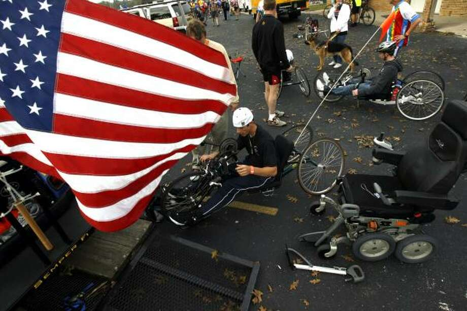 Many of the veterans on the ride used bikes loaned to them by Wounded Warriors, an organization that aims to help injured vets stay active. Photo: JOHNNY HANSON, CHRONICLE