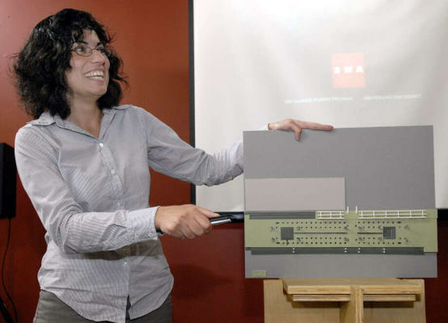 SWA Group intern Mandana Parvinian discusses her project that focused on improving the Guadalupe Plaza area. Photo: Kim Christensen, For The Chronicle
