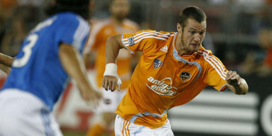 Nate Jaqua had a first-half goal for the Dynamo. Photo: Billy Smith II, Chronicle