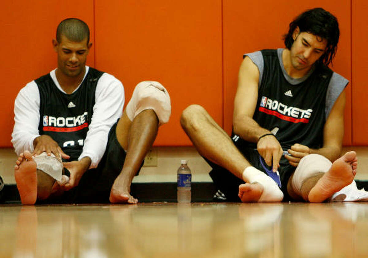 Owner Les Alexander liked the pace of a workout that had Shane Battier and Luis Scola cooling down afterward.