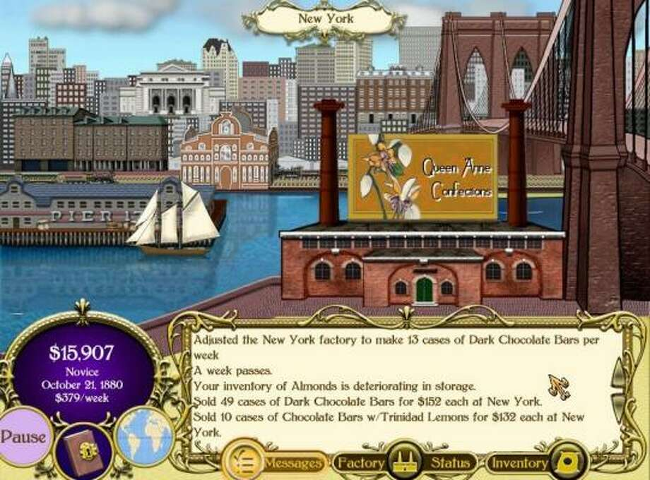 Chocolatier, set in 1880 San Francisco, includes chocolate icons that appear to be edible. It is available for a free, 60-minute trial. Photo: PlayFirst