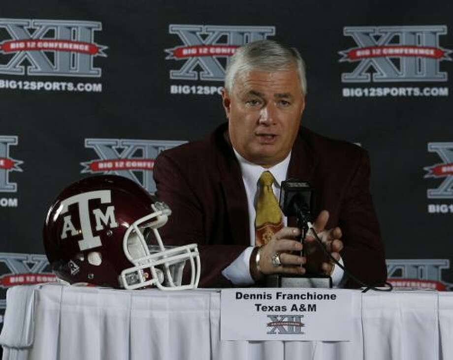 When addressing the media on Tuesday in San Antonio, Texas A&M coach Dennis Franchione tried to emphasis the win over Texas and not the blowout loss to Cal in the Holiday Bowl. Photo: Harry Cabluck, AP