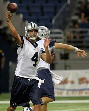 Cowboys quarterback and newcomer Tom Brandstater hurls a pass on Tuesday, Aug. 9, 2011 during training camp at the Alamodome. Photo: John Davenport/jdavenport@express-news.net