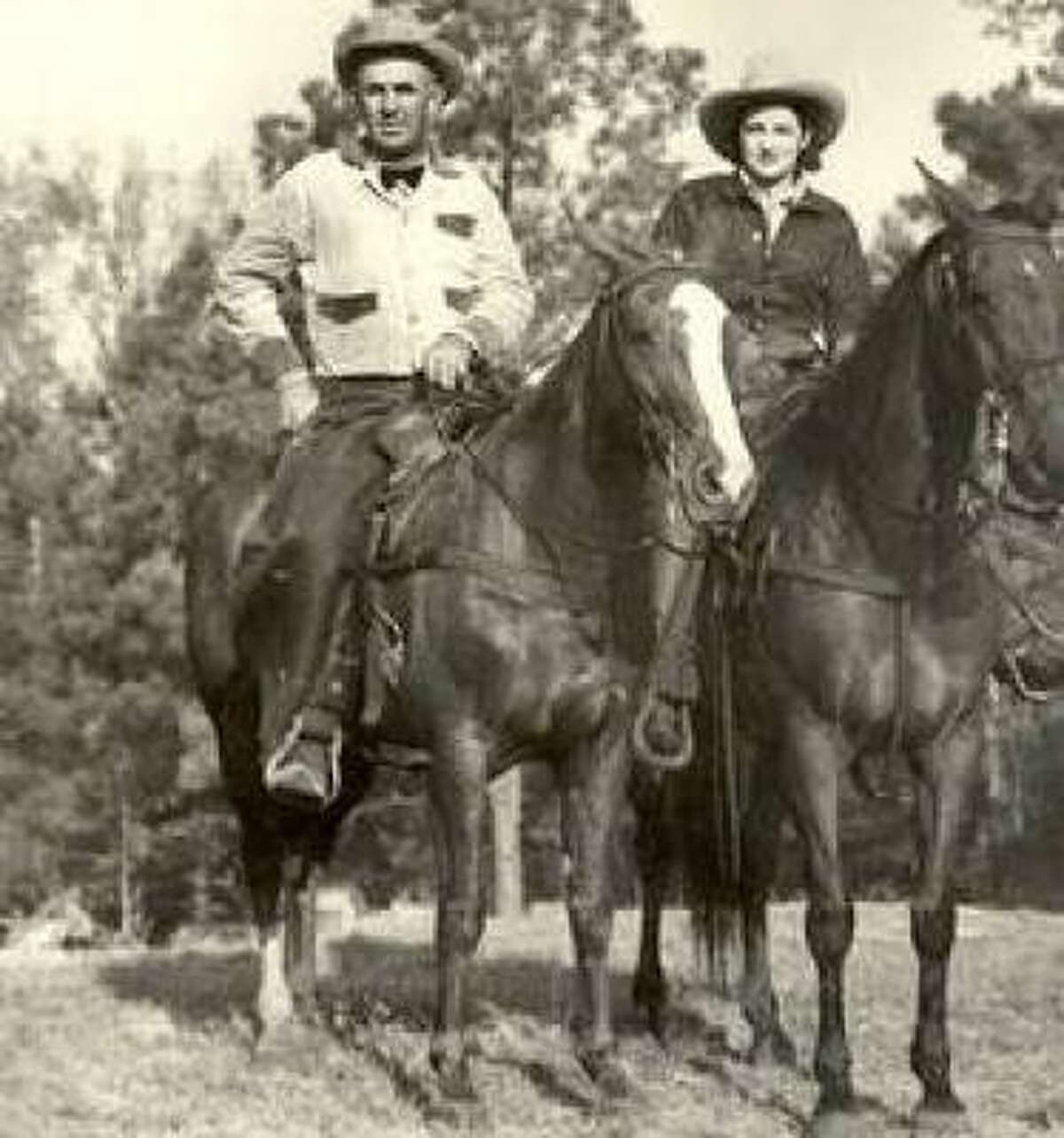Hazel Lee Turner, with longtime companion Gerald Abbott, a pickup man in rodeos, began working on ranches at age 12.