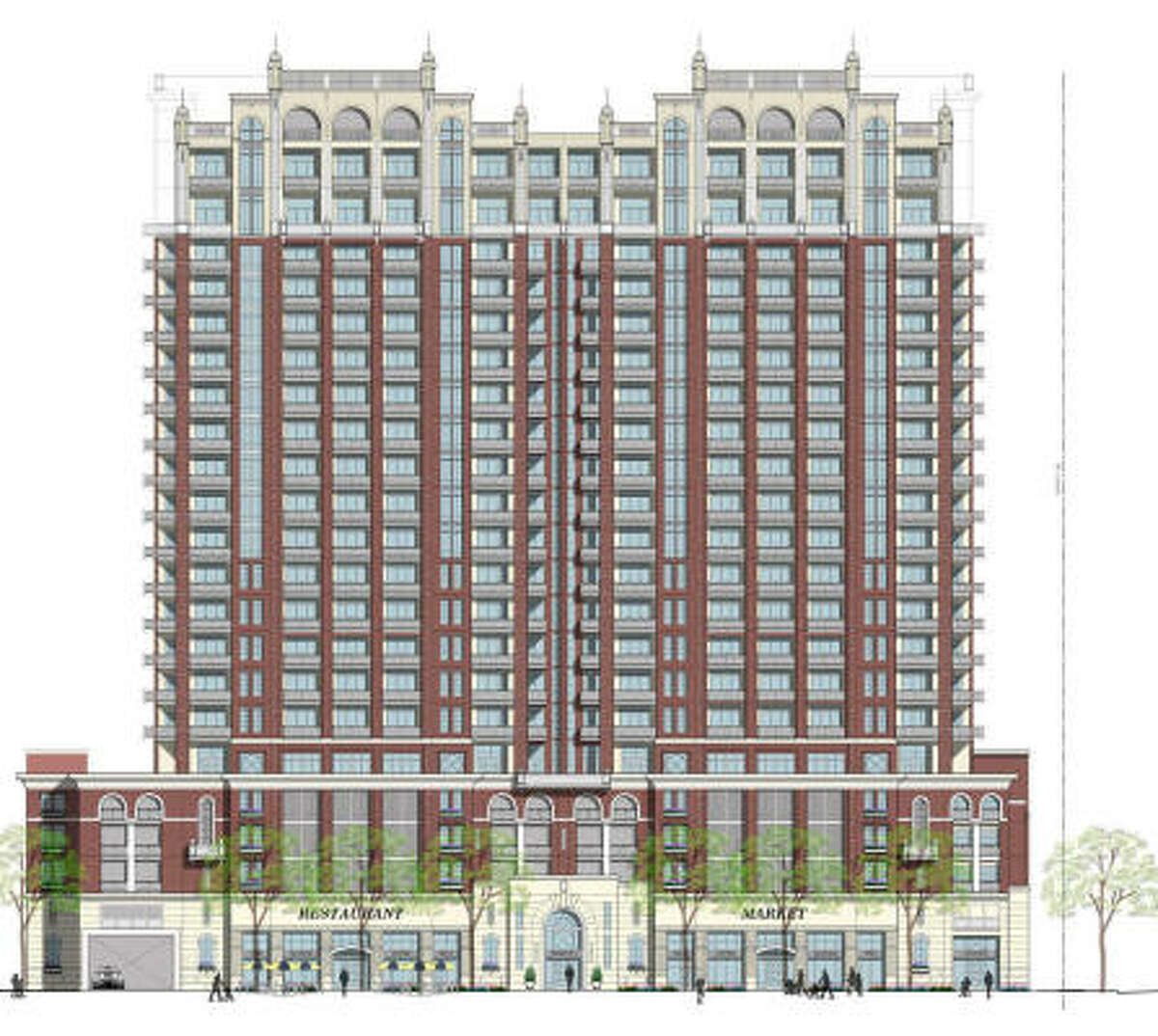 A rendering of the high-rise planned at 1717 Bissonnet.