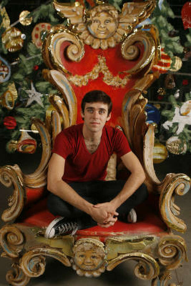 How could he not be a romantic dancer with those eyes? Connor Walsh occupies a throne from The Nutcracker at Houston Ballet's set warehouse. Photo: Steve Campbell, Chronicle