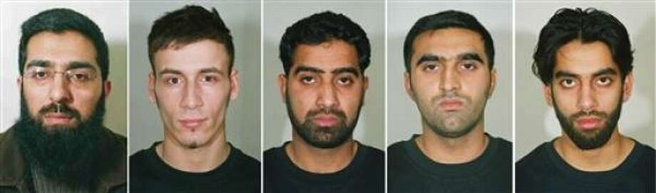 London's Metropolitan Police released photos of   Salahuddin Amin, left, Anthony Garcia, Waheed Mahmood, Omar Khyam and Jawad Akbar, who were Monday found guilty of plotting to bomb several targets in London. Photo: AP