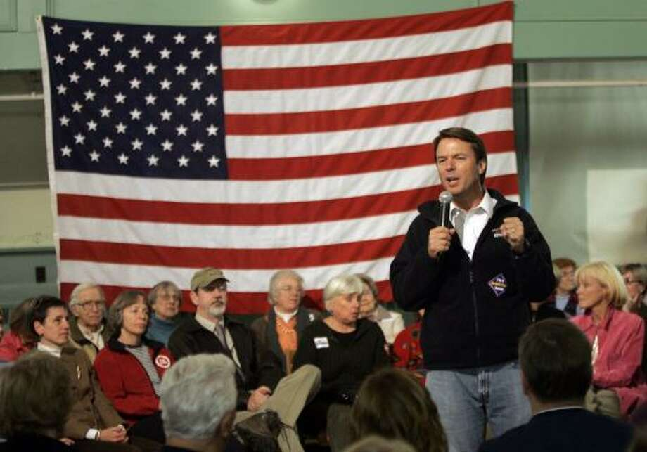 """John Edwards tells a gathering in Exeter, N.H., that the Blackwater USA guards are """"a bunch of paid mercenaries roaming around the country (Iraq) lawless, the best that I can tell  ...  """" Photo: CHARLES KRUPA, ASSOCIATED PRESS"""