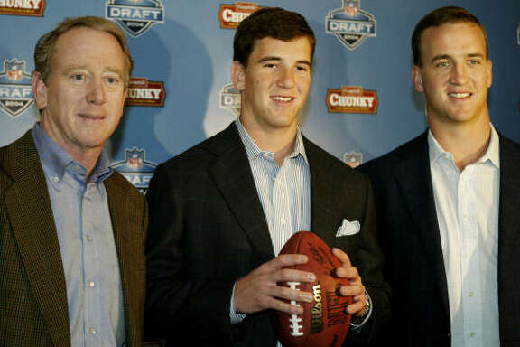 Former Saints QB Archie Manning, from left, Giants QB Eli Manning and Colts QB Peyton Manning may be the equivalent of NFL quarterback royalty, but Peyton's trip to the Super Bowl is a first for the family.