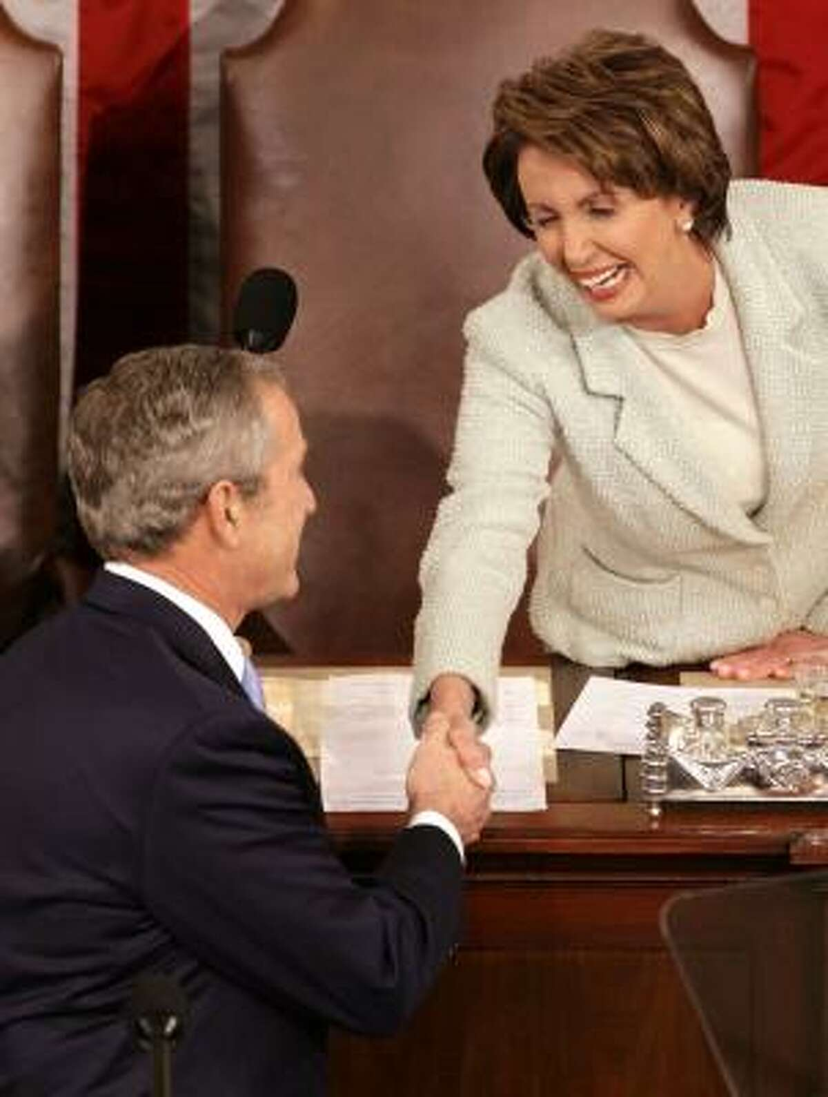 President Bush began with a nod to Nancy Pelosi's history-making role.