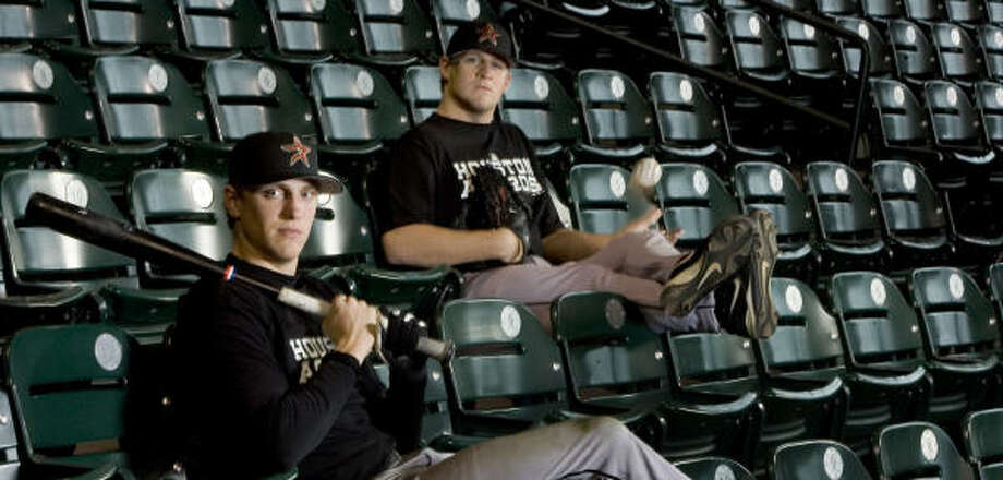 Astros prospects Hunter Pence, left, and Troy Patton are on the verge of breaking into the bigs. Photo: BRETT COOMER, CHRONICLE