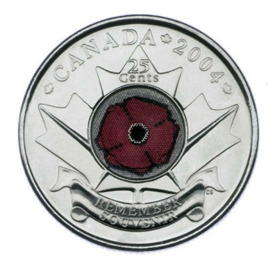This unusual Canadian 25-cent piece features the red image of a poppy, Canada's flower of remembrance, inlaid over a maple leaf. The coin was the culprit behind a U.S. Defense Department false espionage warning earlier this year about mysterious coin-like objects with radio frequency transmitters. Photo: AP