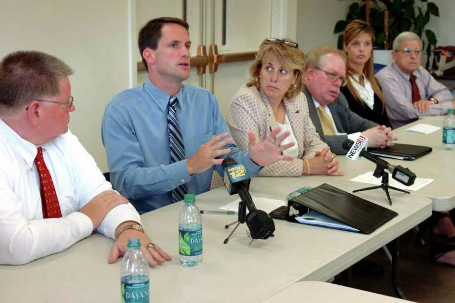 Congressman Jim Himes speaks at a press conference following a roundtable discussion with representatives from community and labor organizations at the Burroughs Community Center, in Bridgeport, Conn. Aug. 9th, 2011. Photo: Ned Gerard / Connecticut Post