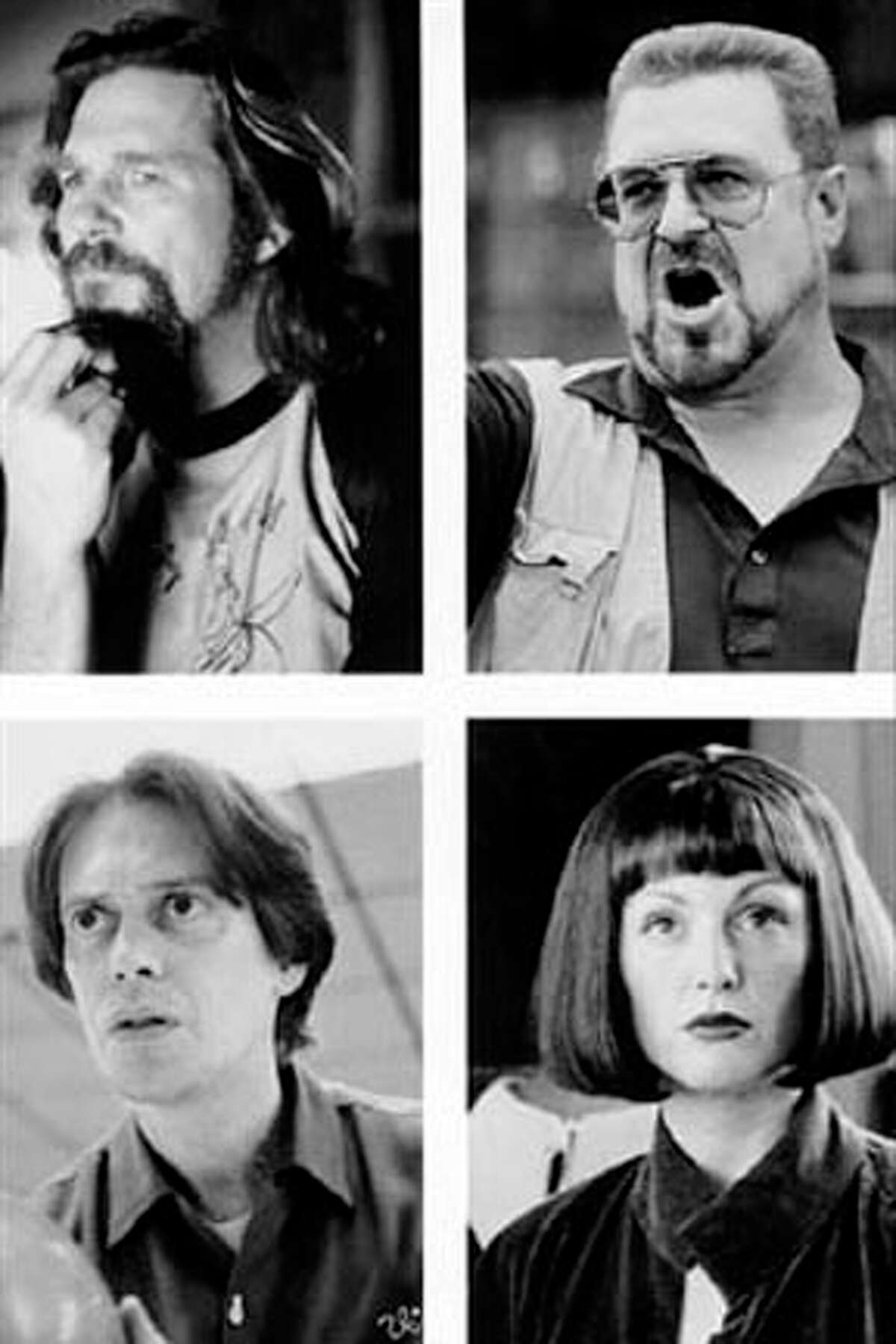 (Top left) JEFF BRIDGES stars as The Dude, (top right) JOHN GOODMAN is bowler Walter, (bottom left) STEVE BUSCEMI as Donny and (bottom right) JULIANNE MOORE as artist Maude.