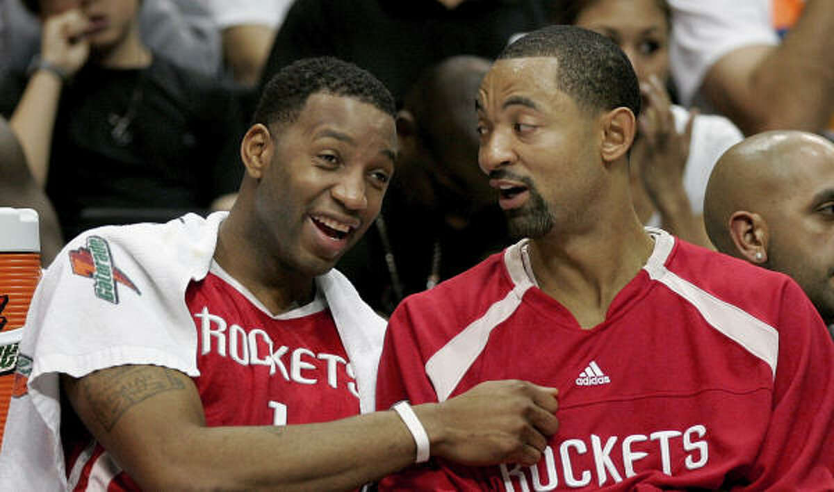 Rockets forward Tracy McGrady, left, with teammate Juwan Howard, isn't thrilled about the prospects of playing in an NBA All-Star Game in the Big Easy.