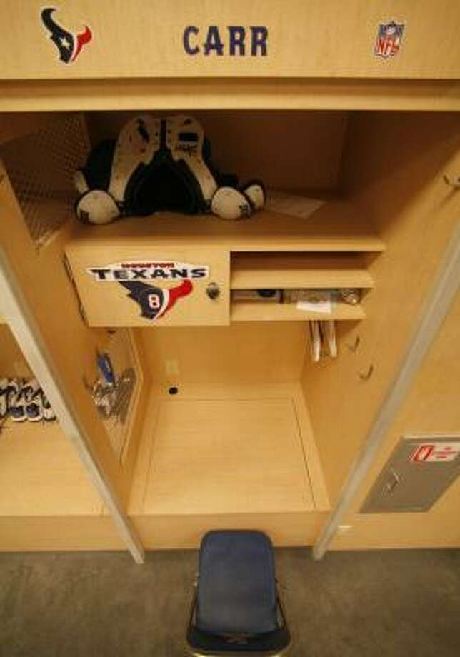 David Carr's locker has been cleaned out for good. Photo: Steve Ueckert, Chronicle