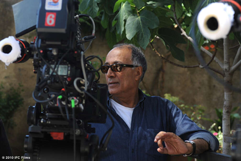 "Director Abbas Kiarostami on the set of ""Certified Copy."""