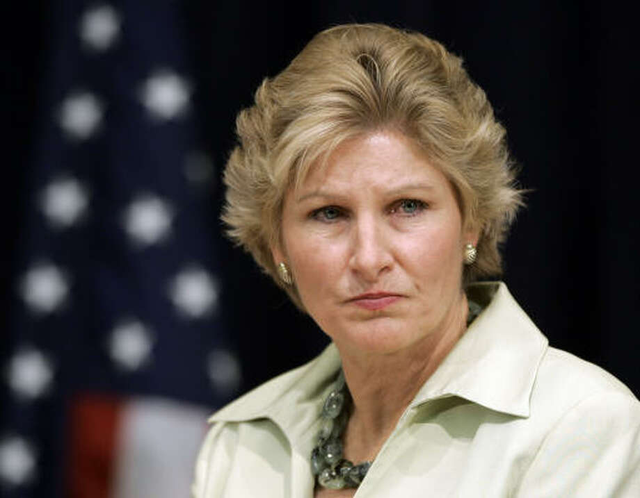 Karen Hughes comments on the announced departure of Karl Rove as President Bush's chief political adviser on Aug. 13, 2007. Photo: J. Scott Applewhite, AP