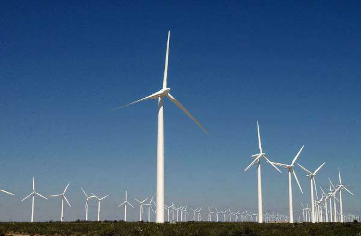 There are about 800 wind turbines in McCamey, which is known as the Wind Capital of Texas.