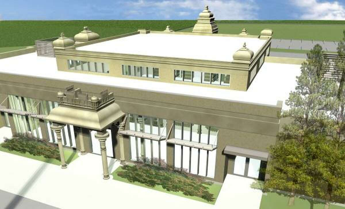 This architect's rendering illustrates the Hindu temple that will begin construction in February in The Woodlands.