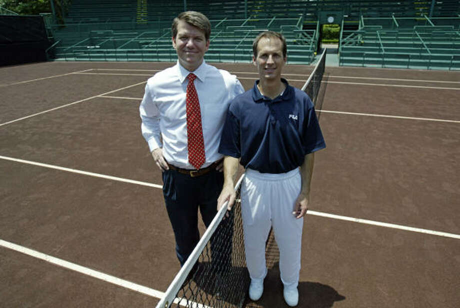 River Oaks Men's Clay Court Tournament Chairman David Modesett, left, and director of Tennis Van Barry, successfully moved the championship across Houston. Photo: Jessica Kourkounis, For The Chronicle