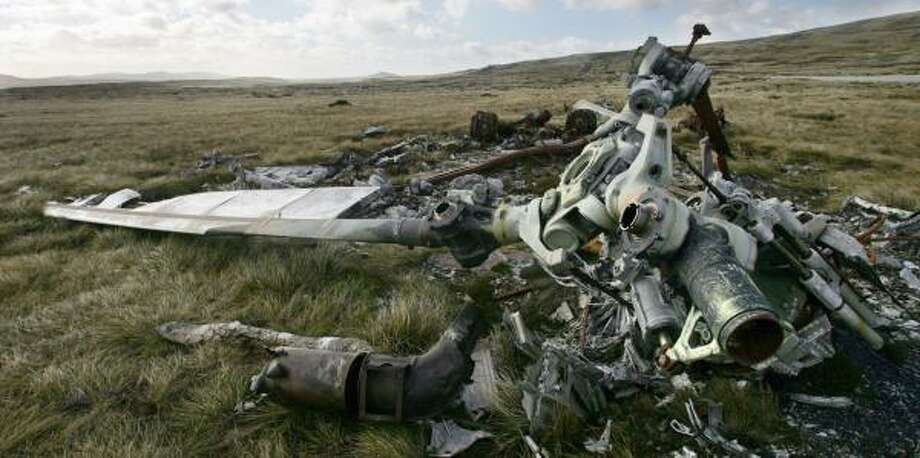 An Argentine military helicopter downed during the 1982 war against Britain for the islands remains near Stanley, Falklands. Photo: DANIEL GARCIA, AFP/GETTY IMAGES