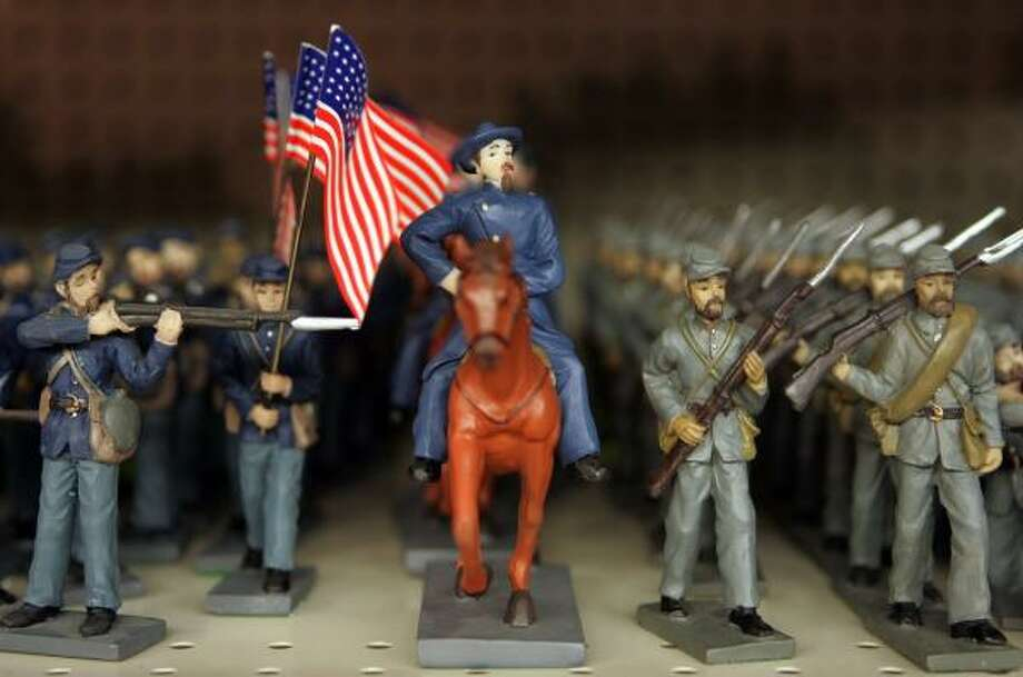 In Gettysburg, Pa., toy enemies march side by side at Gettysburg Souvenirs and Gifts. Photo: Barbara L. Johnston, Washington Post