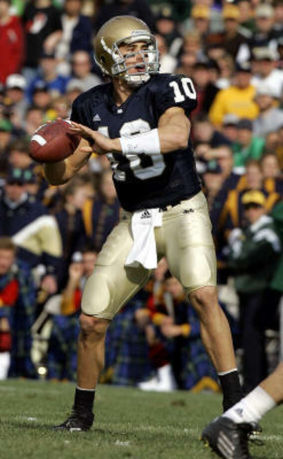 Notre Dame quarterback Brady Quinn has seen his draft stock go up and down and up again since playing his last college game. Photo: MICHAEL CONROY, AP