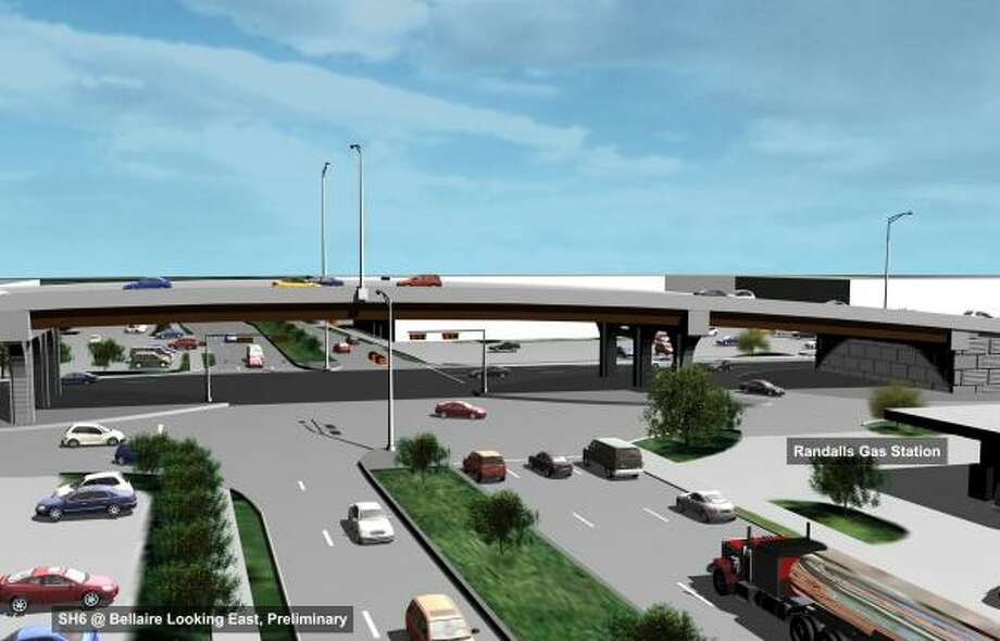 Shown is a rendering of the proposed overpass on Texas 6 at Bellaire Boulevard. Photo: Courtesy Of TxDOT
