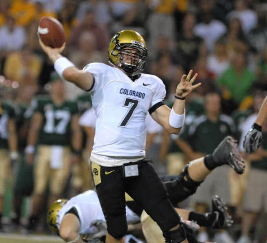 Colorado quarterback Cody Hawkins throws downfield against Baylor. Hawkins would lead the Buffaloes to a 43-23 win over Baylor in Waco. Photo: Duane A. Laverty, AP