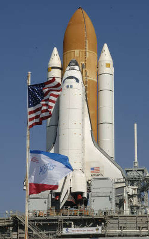 Space shuttle Atlantis sits at the Kennedy Space Center in Florida today. Photo: BRUCE WEAVER, AFP/Getty Images