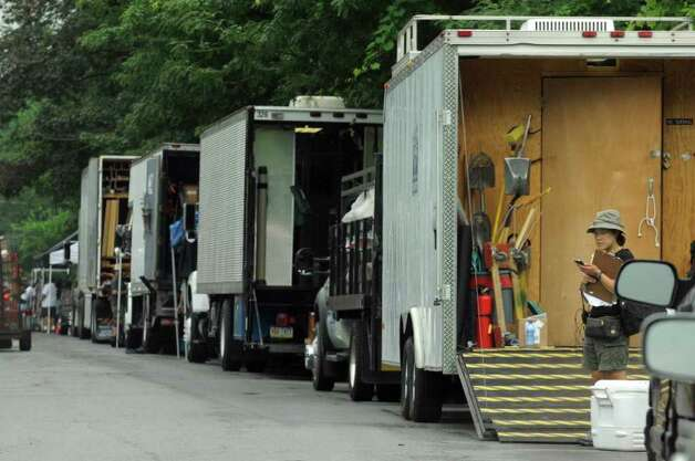 "Equipment trucks lined up on the set of ""The Place Beyond The Pines"" on Watt Street in Schenectady, NY Tuesday Aug. 9,2011.( Michael P. Farrell/Times Union) Photo: Michael P. Farrell"