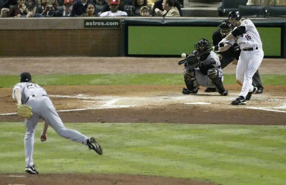 The Astros tried once to get Jon Garland (shown giving up a home run to Jason Lane during the 2005 World Series). Photo: KEVIN FUJII, CHRONICLE