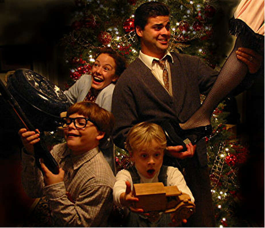 Crystal O'Brien as Mother, Justin O'Brien as The Old Man, Devon Douglis, front left,  as Ralphie, and Max Maisonneuve as Randy, star in Texas Rep's production of the holiday classic. Photo: Texas Rep
