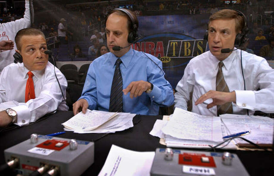 Rockets coach Jeff Van Gundy (center), who will work NBA playoff games for ABC and ESPN beginning Friday, is no stranger to the broadcast booth. Before taking the Rockets' job, Van Gundy  worked as an analyst for TNT with Mike Fratello and Marv Albert. Photo: KEVORK DJANSEZIAN, AP