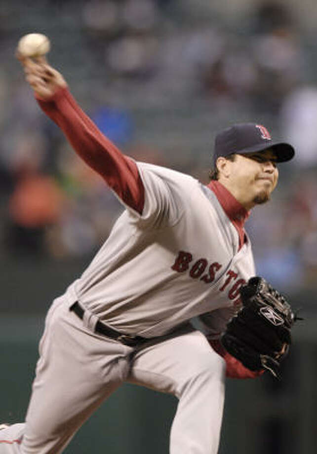 Josh Beckett became the 11th Red Sox pitcher to win his first five starts in a season, joining such luminaries as Babe Ruth, Lefty Grove, Roger Clemens and Pedro Martinez. Photo: Nick Wass, AP